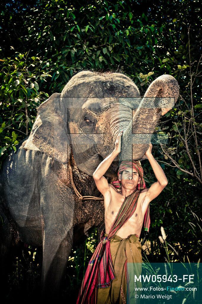 MW05943-FF | Thailand | Goldenes Dreieck | Reportage: Mahut und Elefant - Ein Bündnis fürs Leben | Mahut Lem und sein Elefant Jantip im Dorf Ban Ta Klang nahe Surin. Lem gehört zur ethnischen Gruppe der Kui.  ** Feindaten bitte anfragen bei Mario Weigt Photography, info@asia-stories.com **
