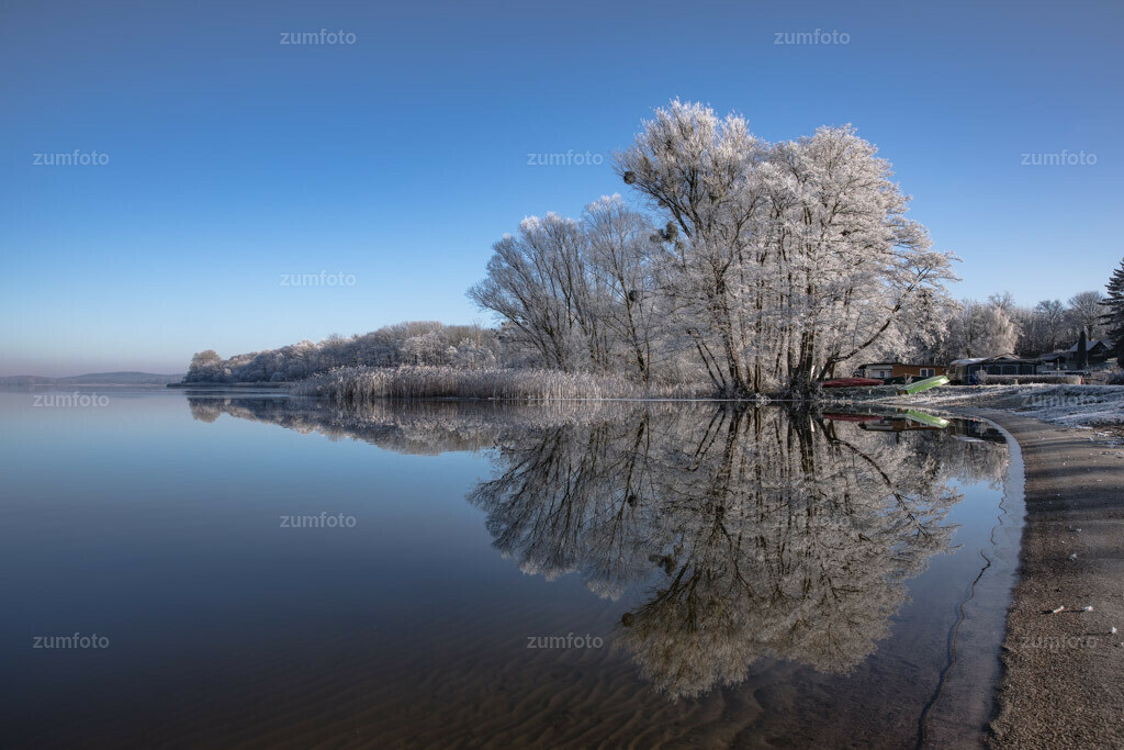180108_1235-6353-A | Ich liebe den Winter mit seinen Farben und Strukturen!! :-)Spiegelung von raureifbedeckten Bäumen im See.