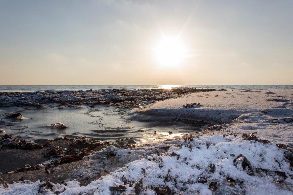 Strand in Booknis | Schnee und Eis am Strand in Booknis
