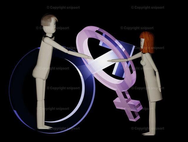 Konzept männliche Absichten | Mann gibt einer Frau dominierend die Hand (Symbole männlich und weiblich im Hintergrund) - 3D Illustration