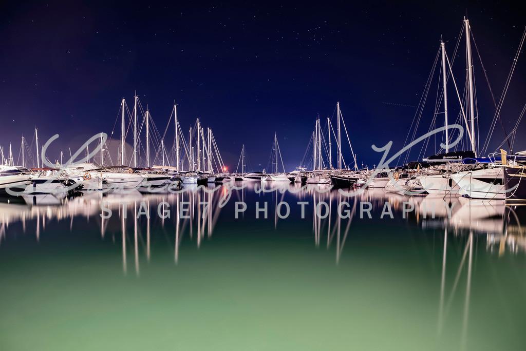 Hafen in Colonia de sant Pere Mallorca   Nachtaufnahme im Hafen von Colonia