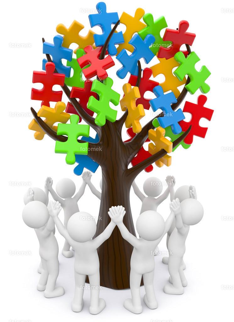 3d Männchen mit Puzzlebaum