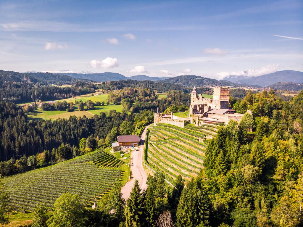 Burg Glanegg | Luftbild von der Burg Glanegg bei Feldkirchen