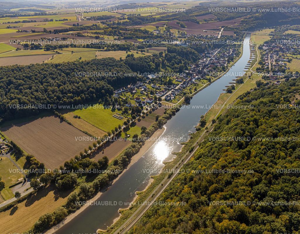 Beverungen200911573Weser-SkywalkHannoverscheKlippen | Luftbild, Fluss Weser, Würselen, Herstelle, Beverungen, Ostwestfalen-Lippe, Nordrhein-Westfalen, Deutschland