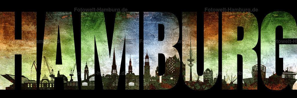 10210603 - Hamburg Skyline Schriftzug | Hamburg Schriftzug mit Hintergrundstruktur und abstrakter Hamburg Skyline im Panoramaformat.