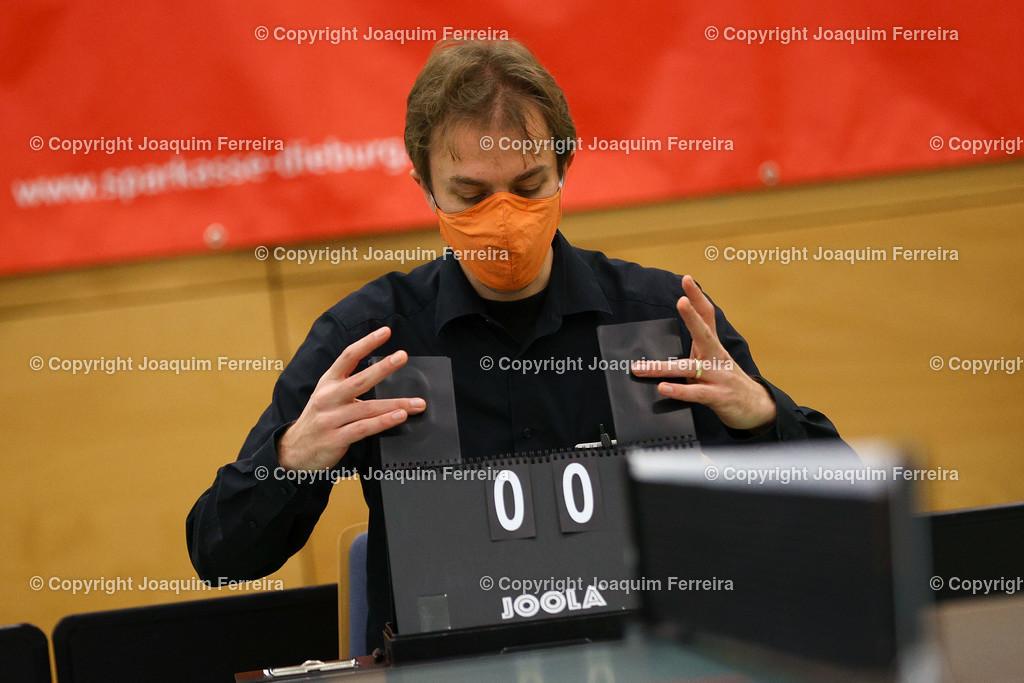 201219_tsvvsboe_0419 | despor 19.12.2020 Tischtennis Damen 1.BL TSV Langstadt - SV Böblingen emspor, emonline, oespor,  v.l., Symbolbild, Schiedsrichter  Foto: Joaquim Ferreira