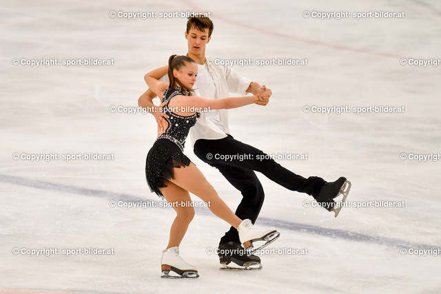 AUT, Eiskunstlaufen, Junior Grand Prix of Figure Skating 2021/2022 | 07.10.2021, Eishalle Linz, AUT, Eiskunstlaufen, Junior Grand Prix of Figure Skating 2021/2022, im Bild Anita Straub und Andreas Straub (AUT) - Junior Ice Dance Rhythm Dance