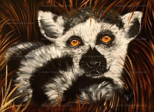 Lemur | Phantastischer Realismus aus dem Atelier Conny Krakowski. Verkäuflich als Poster, Leinwanddruck und vieles mehr.