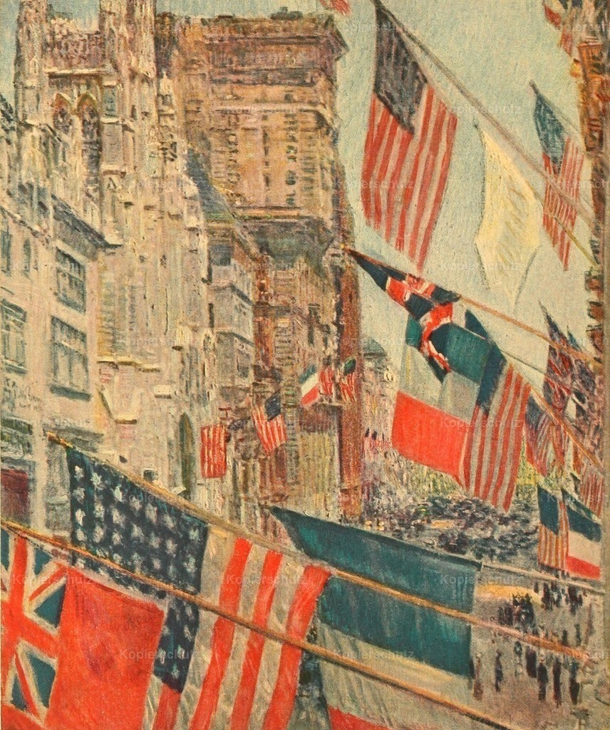 Hassam_ Childe  (1859-1935) - The Avenue of the Allies and Victory 1918 - Allies_ Day