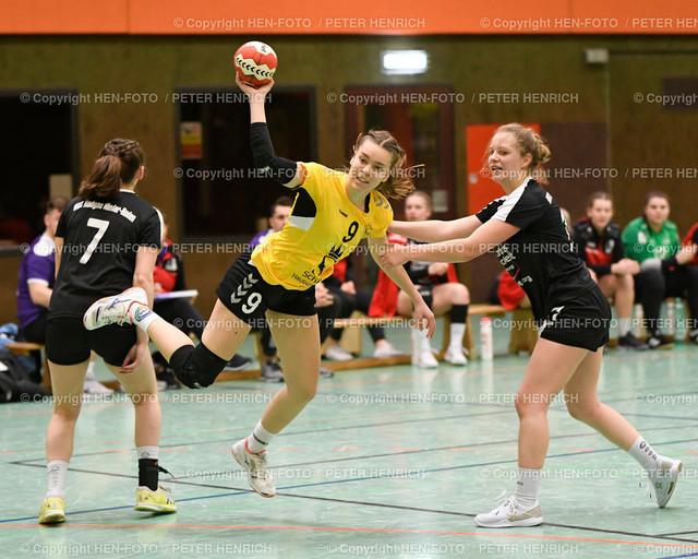 Handball Oberliga HSG Weiterstadt - HSG Rodgau (34:33) copyright HEN-FOTO | Handball Oberliga weibliche A Jugend HSG Weiterstadt Braunshardt Worfelden - HSG Rodgau Nieder-Roden (34:33) v li 7 Christine Burgard (N) 9 Lea Trendo Lopez (W) 10 Sophie Krabes (N) copyright + Foto: Peter Henrich (HEN-FOTO)