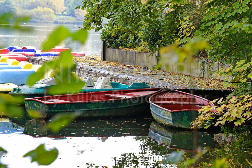 Bootssteg am Seilersee | Boote am Bootssteg des herbstlichen Seilersees in Iserlohn.
