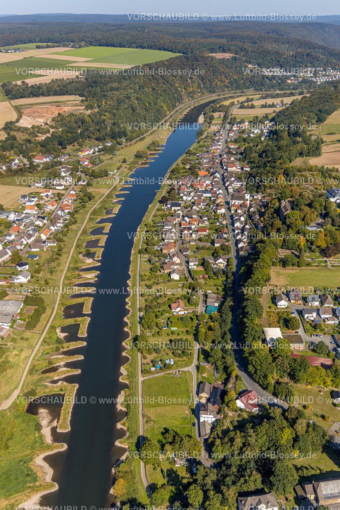 Beverungen200911535Weser_Herstelle | Luftbild, Fluss Weser, Würselen, Herstelle, Beverungen, Ostwestfalen-Lippe, Nordrhein-Westfalen, Deutschland