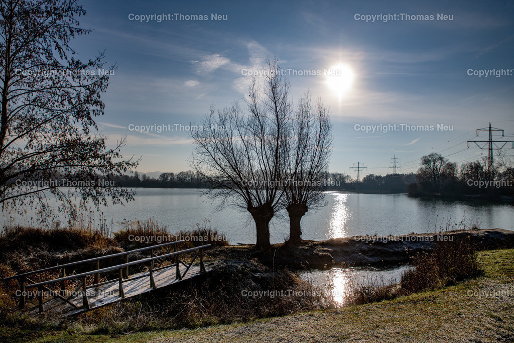 DSC_5421 | Bensheim, Naturschutzzentrum, Ufer der Erlache, Gegenlicht, Winterstimmung, Sonne, Wasser, Brücke,  Bild: Thomas Neu