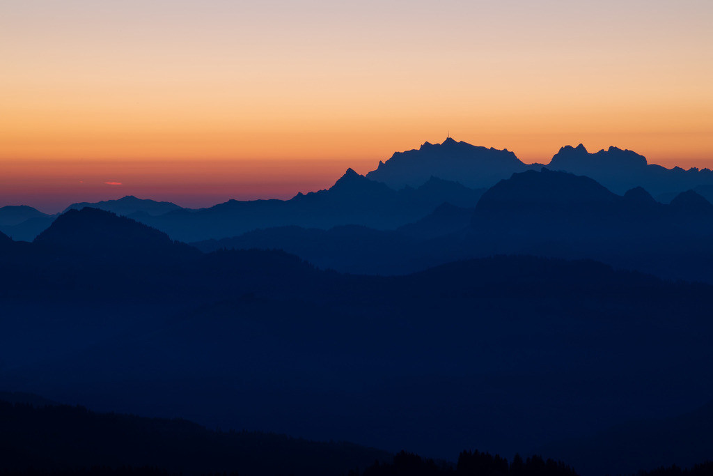 Sunrise with layers   While there is still shadow over Säntis, the rising sun is already announcing itself.