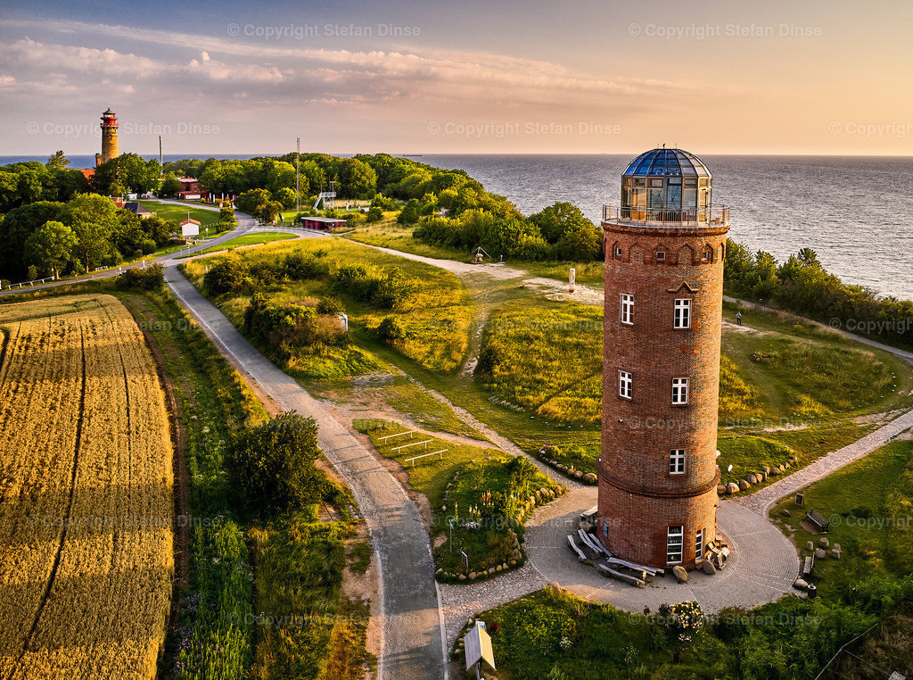 drone view of lighthouses from Kap Arkona | drone view of lighthouses in sunset from northern part of island of Ruegen - called Kap Arkona