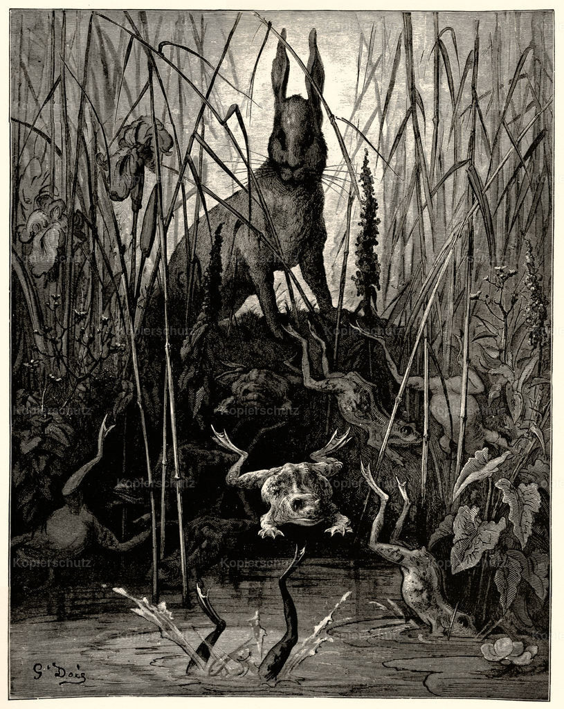 The Hare and the FrogsGustaveDore LargeFormat