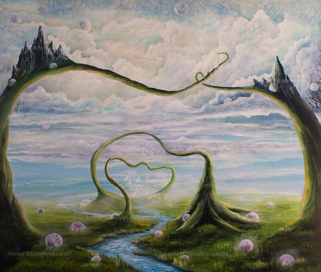 Schlangenwelt | Phantastischer Realismus aus dem Atelier Conny Krakowski. Verkäuflich als Poster, Leinwanddruck und vieles mehr.