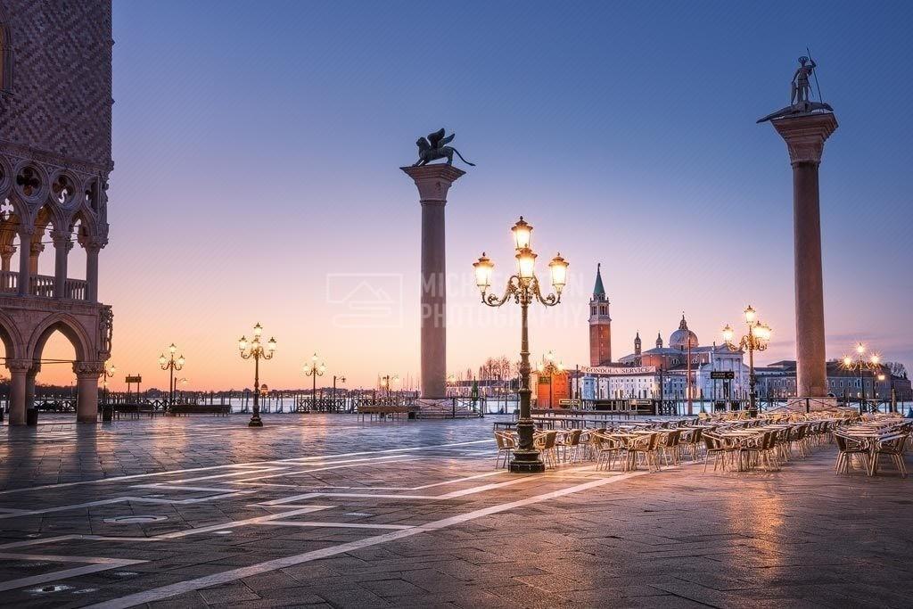 Italien - Venedig Markusplatz | Markusplatz in Venedig bei Sonnenaufgang