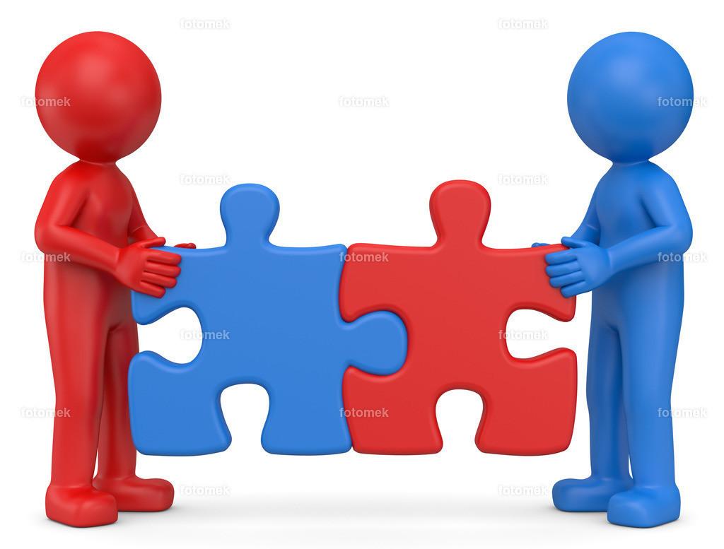 blaues und rotes Männchen mit Puzzleteile | 3d rotes und blaue Männchen mit Puzzleteile