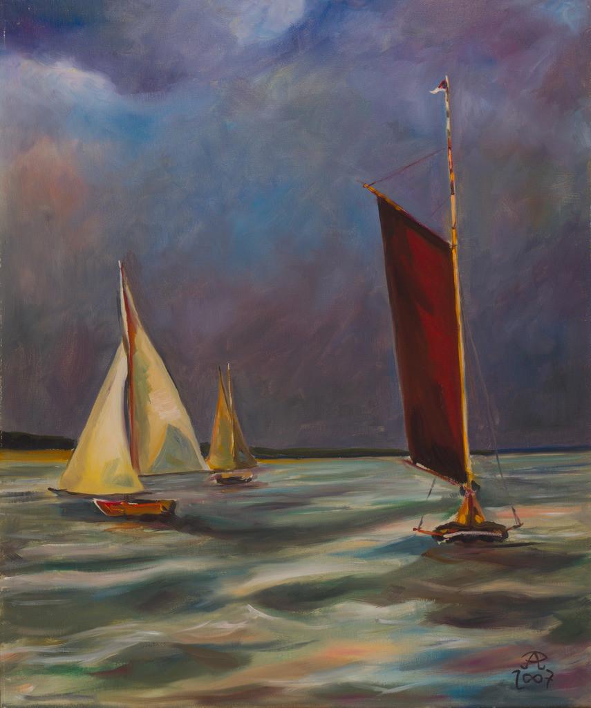 Segelboote auf dem Bodden | Originalformat: 60x50cm  -   Produktionsjahr: 2007