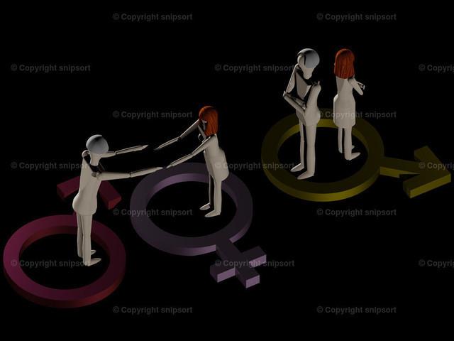 Zuneigung und Auseinanderleben (3D-Rendering) | Ein verliebtes Paar und eisige Gefühle nach der Hochzeit (3D Rendering)