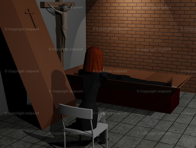 Junge Witwe beweint ihren Ehemann | Abschied vom Toten bei einer Beerdigung (3D Illustration)