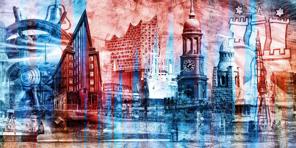 10210707 - Hamburg Collage 048 | Modernes Hamburg Wandbild in einer spannenden Farbkombination aus blau, rot und weiss.