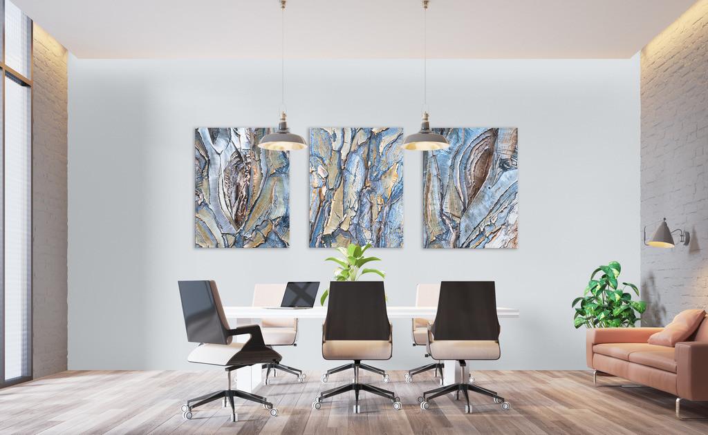 Bildserie Rinde eines Köcherbaums | Anwendungsbeispiel für Wandbilder in Ihrem Besprechungsraum, z.B. auch geeignet für Versicherungsrepräsentanzen Dieses Triptychon finden Sie in der Galerie Nimm drei - Pflanzen.