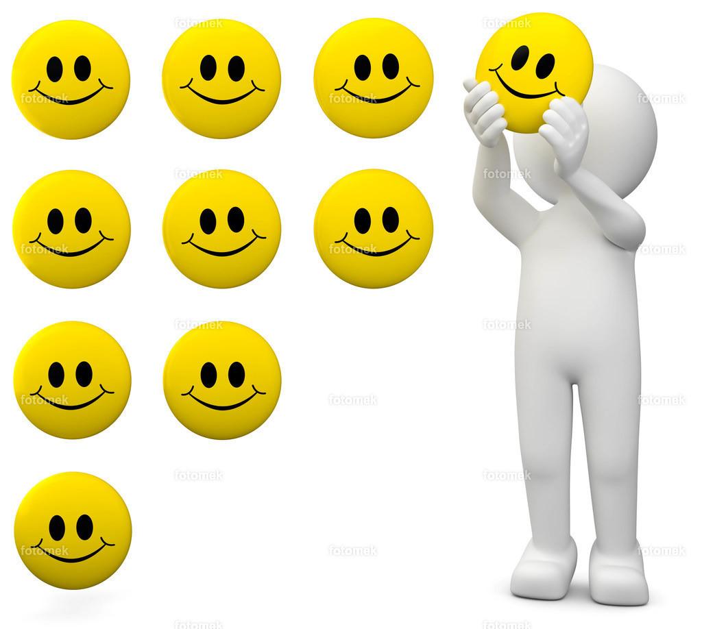 3d Männchen Bewertung mit smileys | weisses 3D Männchen von Fotomek