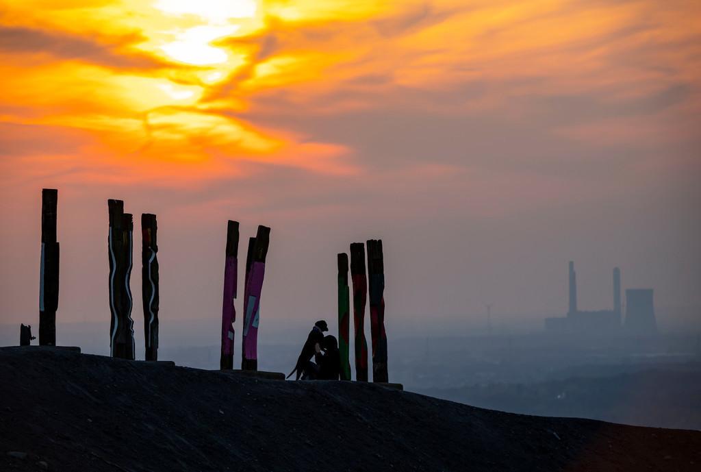 JT-200407-021 | Die Halde Haniel, 185 Meter hohe Bergehalde, am 2019 stillgelegtem Bergwerk Prosper Haniel, Kunstwerk Totems des Bildhauers Augustin Ibarrola, Sonnenuntergang, Bottrop, Deutschland,