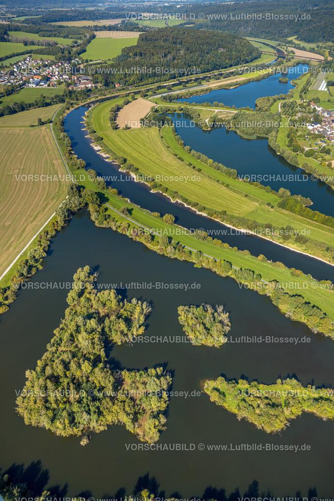 Beverungen200911638Osterfeldsee   Luftbild, Fluss Weser, Osterfeldsee in Nordrhein-Westfalen, Meinbrexen See in Niedersachsen, Meinbrexen, Beverungen, Ostwestfalen-Lippe, Nordrhein-Westfalen, Deutschland