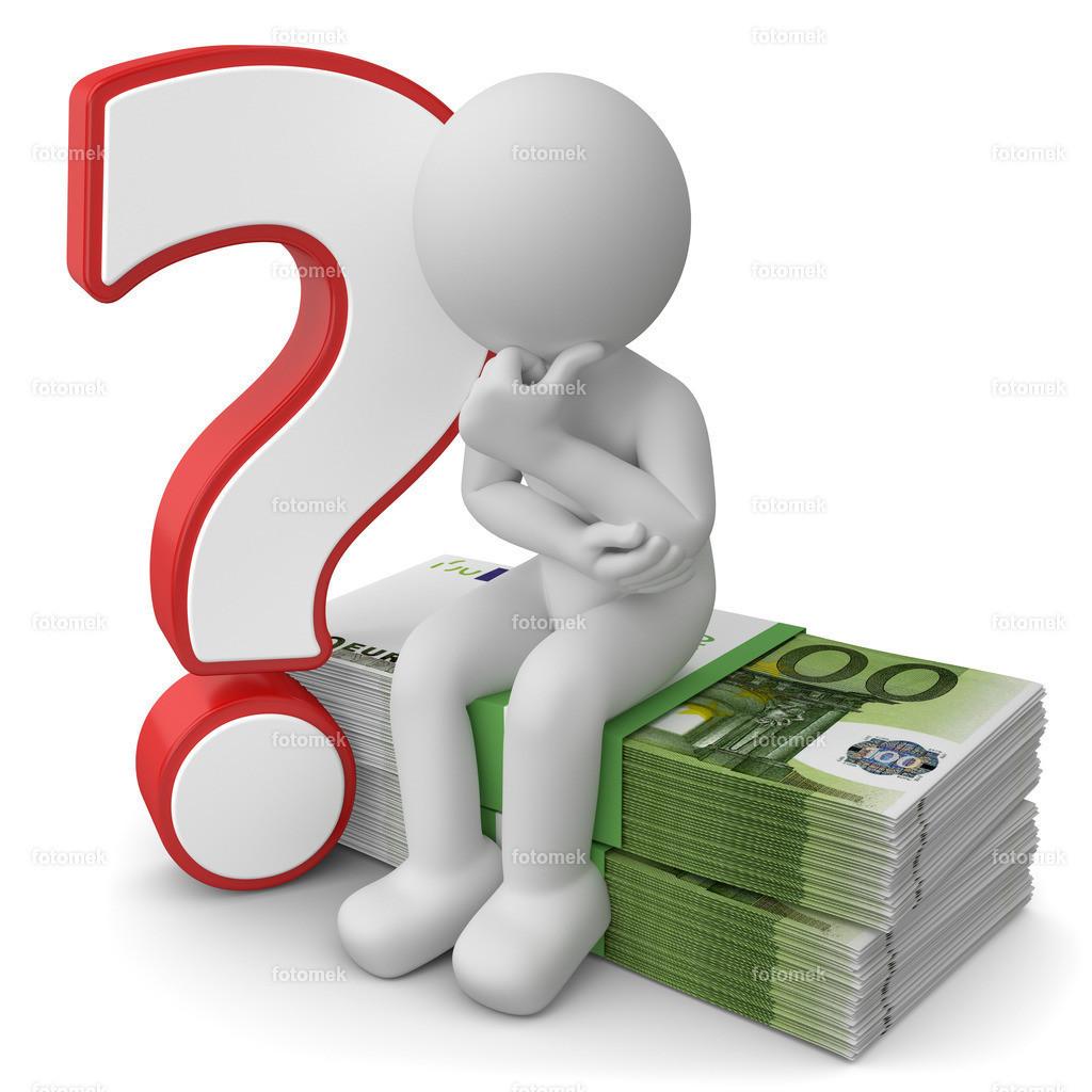 weisses 3d Männchen mit Geld und Fragezeichen   3d Männchen mit Geld und Fragezeichen