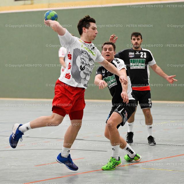 20191201 Handball Männer Oberliga SG RW Babenhausen - Tuspo Obernburg copyright by HEN-FOTO   20191201 Handball Männer Oberliga SG RW Babenhausen - Tuspo Obernburg (30:26) li 14 Martin Habenicht (B) re 7 Tobias Raab (O) copyright by HEN-FOTO Foto: Peter Henrich