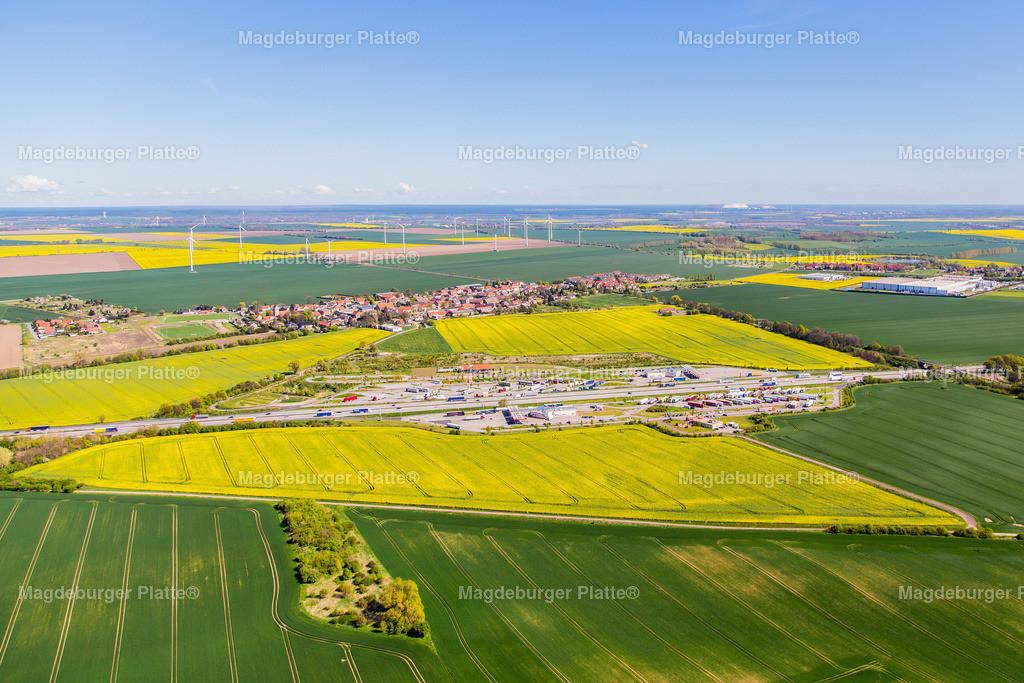 Luftbild Groß Santersleben A2 Rasthof-5892