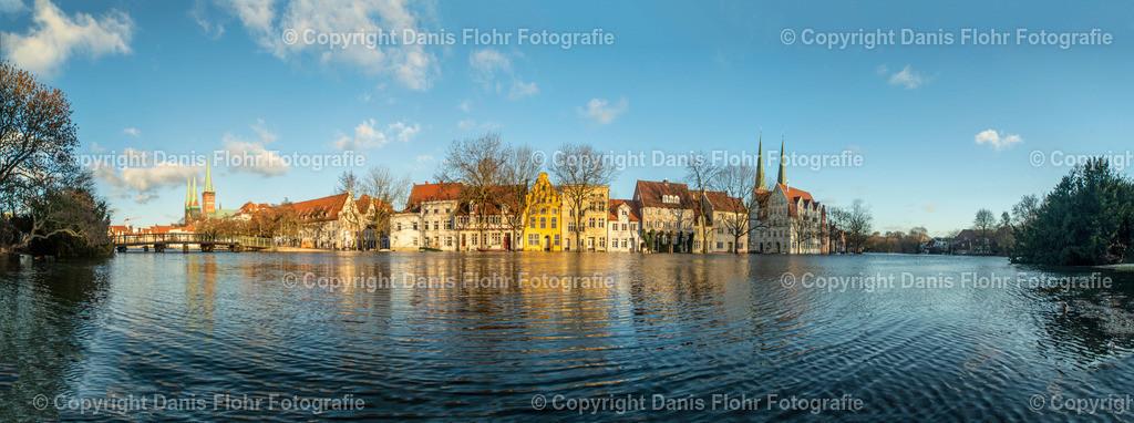 Lübeck Malerwinkel | Panorama des klassischen Malerwinkels bei Hochwasser