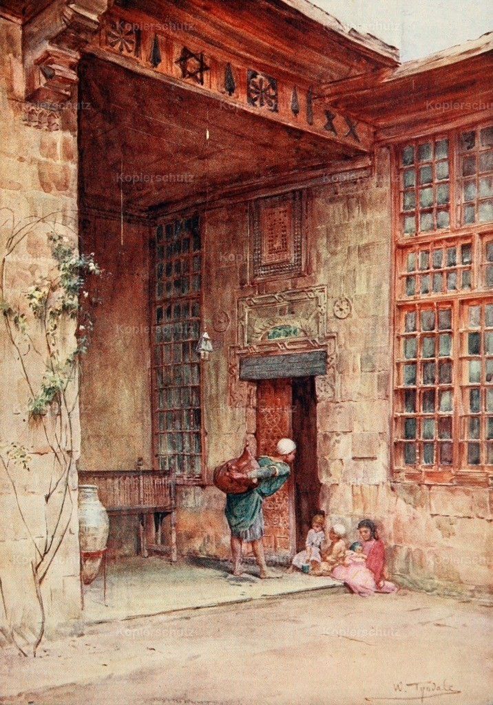 Tyndale_ W. (1855-1943) - Below the Cataracts 1907 - Courtyard in a Cairene house