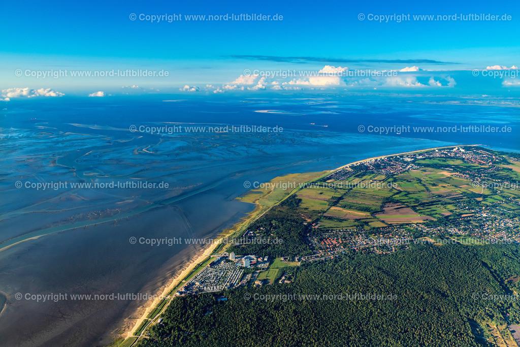 Cuxhaven_Hamburger_Wattenmeer_ELS_3147300820 | CUXHAVEN 30.08.2020 Küsten- Landschaft am Sandstrand der Nordsee mit den Stadtteilen