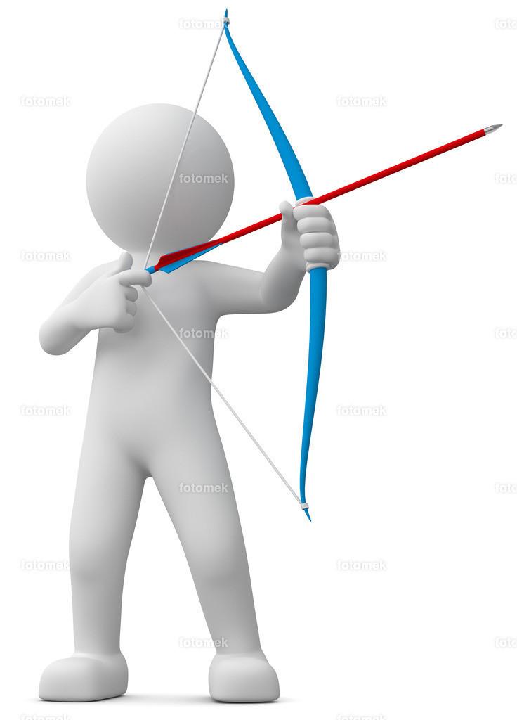 weisses 3d Männchen mit Pfeil und Bogen