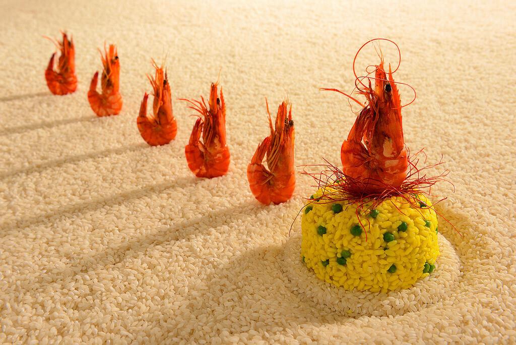 Paella | Parade von stehenden Garnelen auf Reis-Arrangement