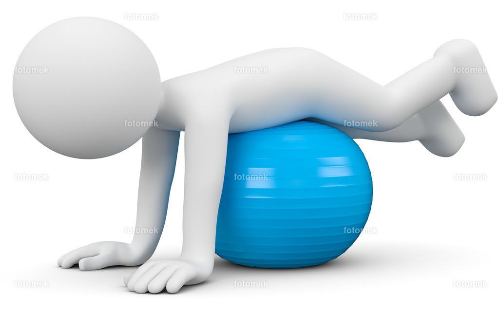 3d Männchen Balance auf einem Gesundheitsball | weisses 3D Männchen von Fotomek