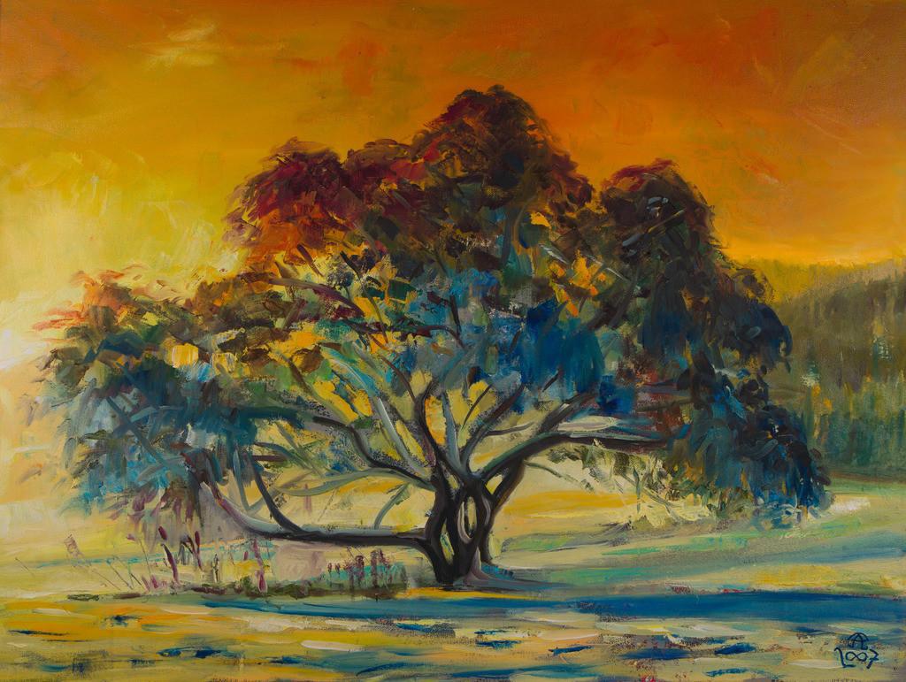 Feurige Winterlandschaft mit Baum | Originalformat: 60x80cm  -   Produktionsjahr: 2007