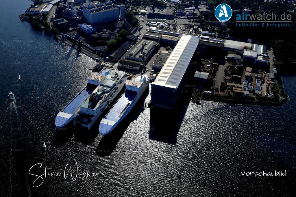 Luftbild Flensburger Foerde, Flensburger Schiffbau Gesellschaft, FSG   Flensburger Foerde, Flensburger Schiffbau Gesellschaft FSG • max. 6240 x 4160 pix