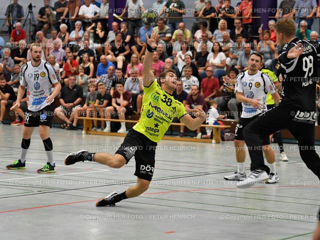 Handball Gross Bieberau Modau - Baunatal 20190824 copyright by HEN-FOTO | Handball 3. Liga Gross Bieberau Modau - Baunatal 20190824 Mi 38 Simon Brandt (BM) re 98 TW Marian Mügge (B) copyright by HEN-FOTO Foto: Peter Henrich