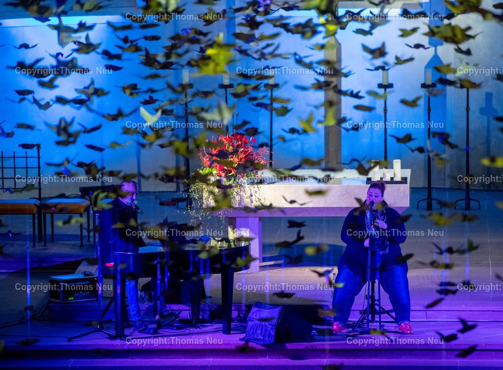 DSC_7772 | Bensheim, Kirche Sankt Georg, Abschlusskonzert unter der Friedenstauben-Installation mit dem Duo Bollwerk , Illumination der Kirche,   ,, Bild: Thomas Neu
