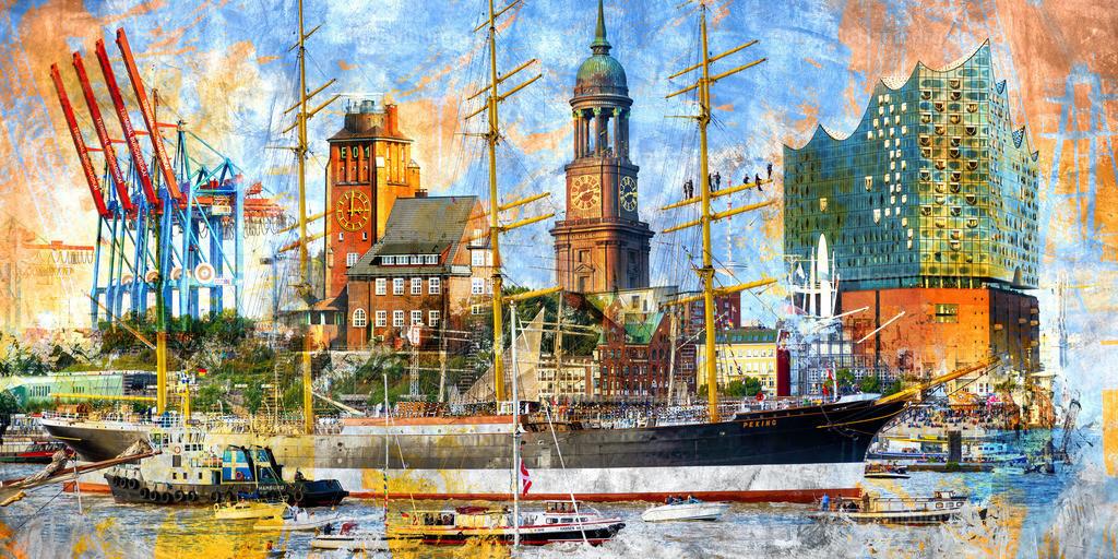 10201006 - Hamburg Collage 040 | Hamburg Collage mit Motiven rund um den Hamburger Hafen und mit dem Segelschiff