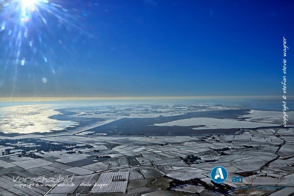 Winter Luftbilder, Nordsee, Nordfriesland, Husumer Bucht, Halbinsel Nordstrand   Winter Luftbilder, Nordsee, Nordfriesland, Husumer Bucht, Halbinsel Nordstrand