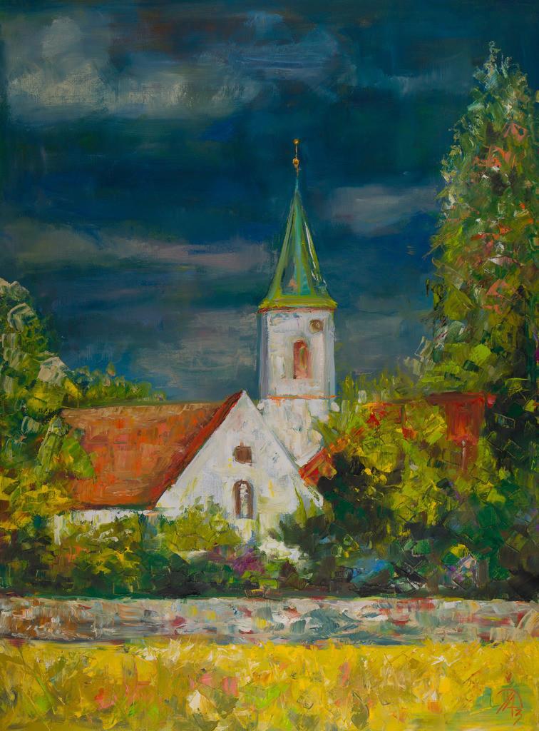 Dorfkirche im Frühling | Originalformat: 80x60cm  -   Produktionsjahr: 2013