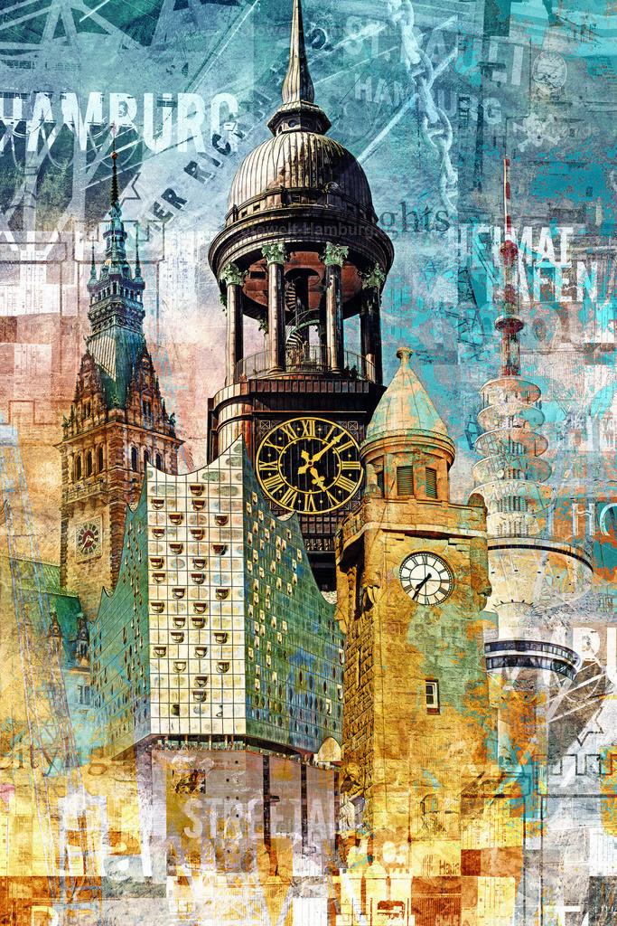 10210304 - Hamburg Collage 044   Moderne Hamburg Collage im Pop-Art Stil.