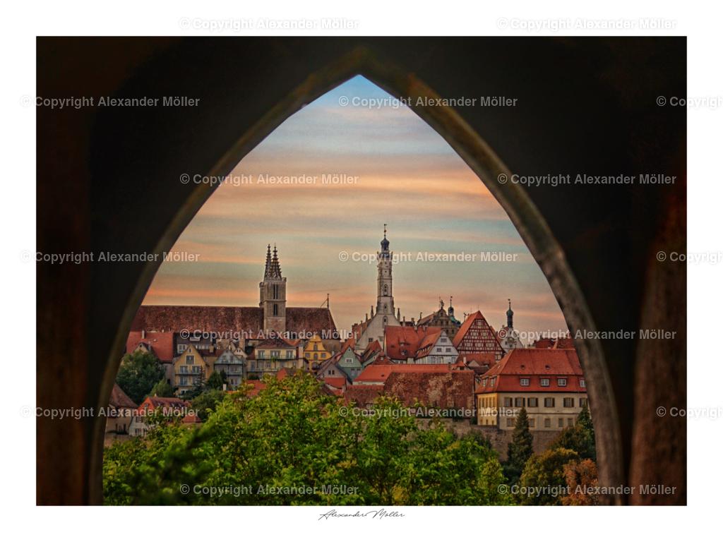 Rothenburg ob der Tauber No.108   Dieses Werk zeigt die weltberühmte Ansicht auf Rothenburg ob der Tauber.