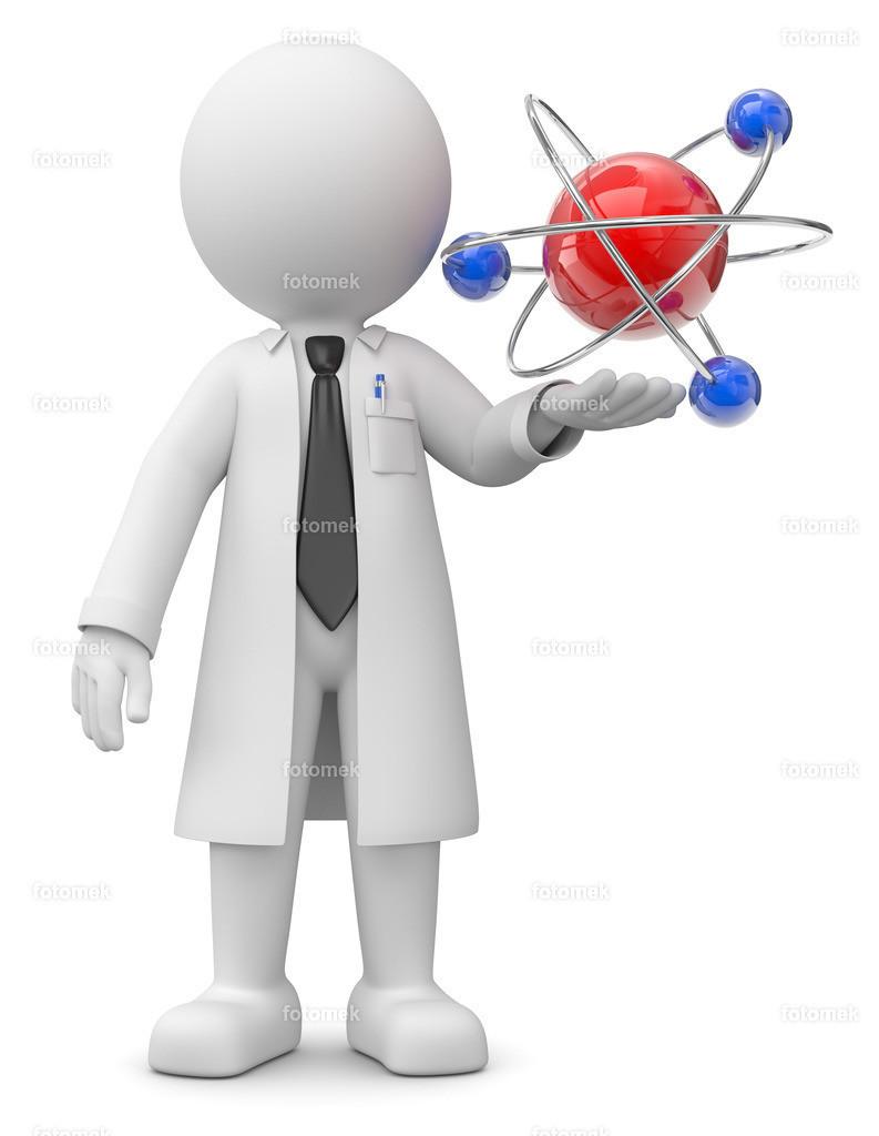 Physiker mit Atomen | weisses 3D Männchen von Fotomek